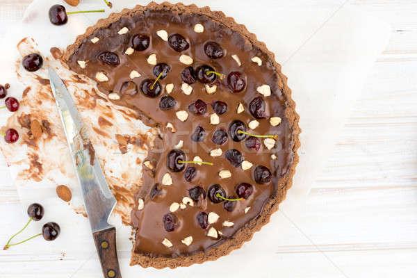 Dolce crostata torta cioccolato buio ciliegie Foto d'archivio © badmanproduction