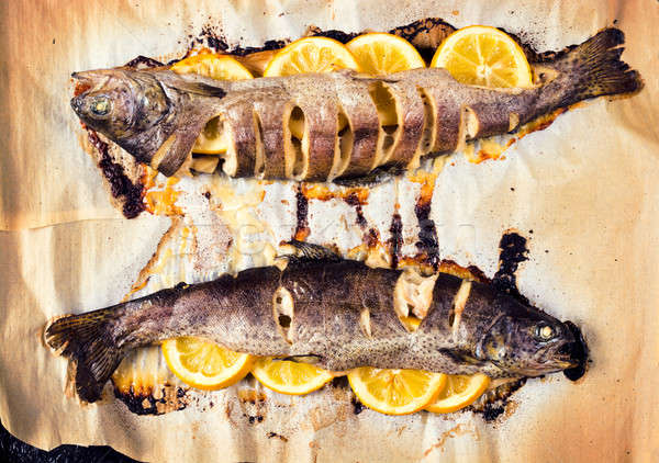 Preparado cavala peixe recheado limão temperos Foto stock © badmanproduction