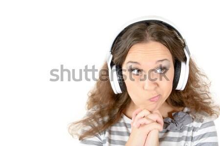 Gyanús portré női kéz arc munka Stock fotó © badmanproduction
