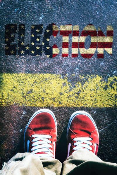 Amerikan seçimler adam ayakta üzerinde hat Stok fotoğraf © badmanproduction
