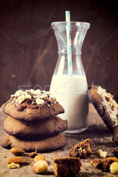 Zoete tijd gebakken cookies chocolade room Stockfoto © badmanproduction