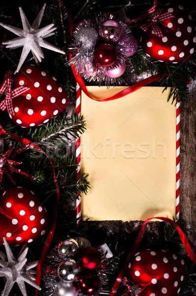 Tatil tebrik boş kağıt Noel süslemeleri ahşap Stok fotoğraf © badmanproduction