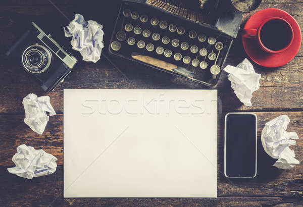Typewriter and blank paper Stock photo © badmanproduction