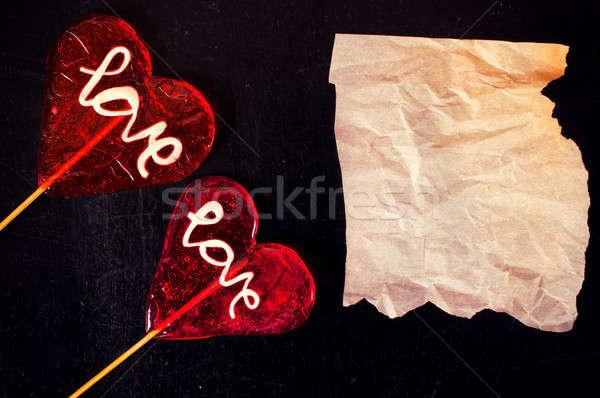 Liefde papier Rood blanco papier zwarte Stockfoto © badmanproduction