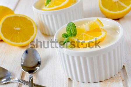 Panna cotta with lemon Stock photo © badmanproduction