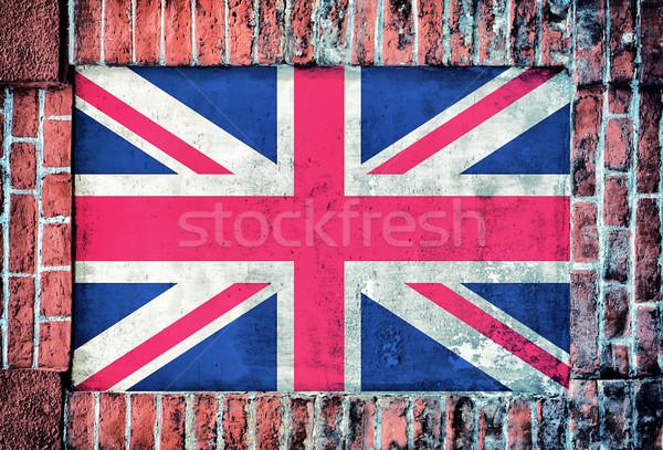 Regno Unito bandiera vecchio mattone finestra amore Foto d'archivio © badmanproduction