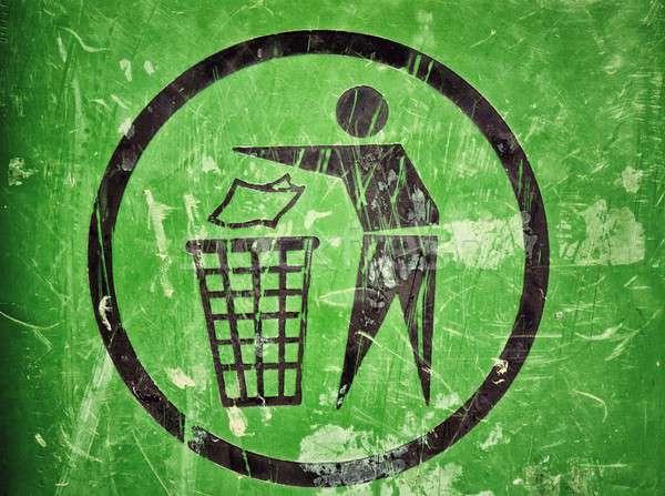 мусор знак улице зеленый белый чистой Сток-фото © badmanproduction