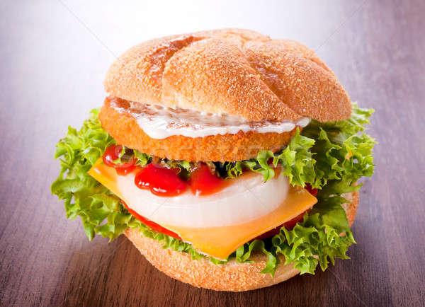 Mayonez ketçap lezzetli balık Burger gıda Stok fotoğraf © badmanproduction