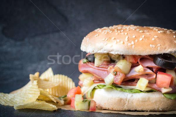 Sandviç büyük sulu karanlık odak Stok fotoğraf © badmanproduction