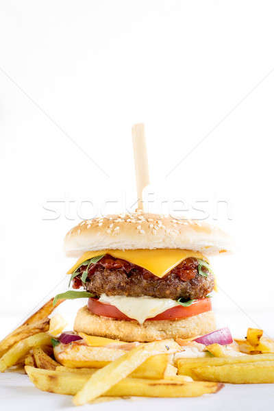Beef burger and french fries Stock photo © badmanproduction
