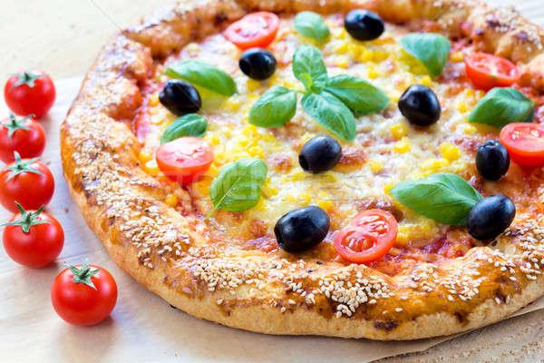 ジューシー ピザ ベジタリアン チーズ フォーカス フロント ストックフォト © badmanproduction