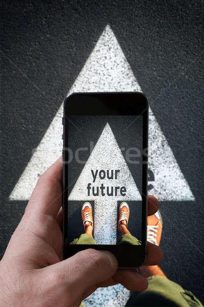 Futuro vermelho sapatos em pé assinar Foto stock © badmanproduction