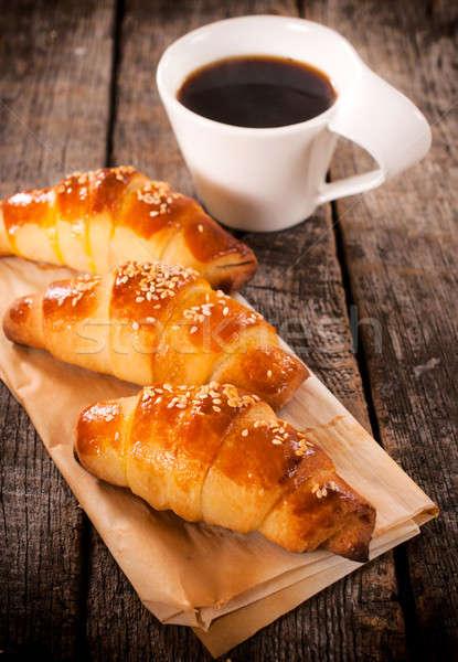 круассаны кофе домашний фаршированный Кубок Сток-фото © badmanproduction