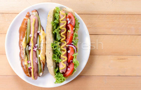 Hot dogs from above Stock photo © badmanproduction