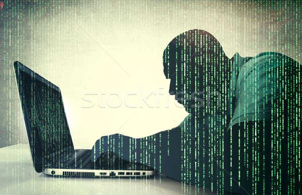 хакер действий портативного компьютера технологий безопасности сеть Сток-фото © badmanproduction