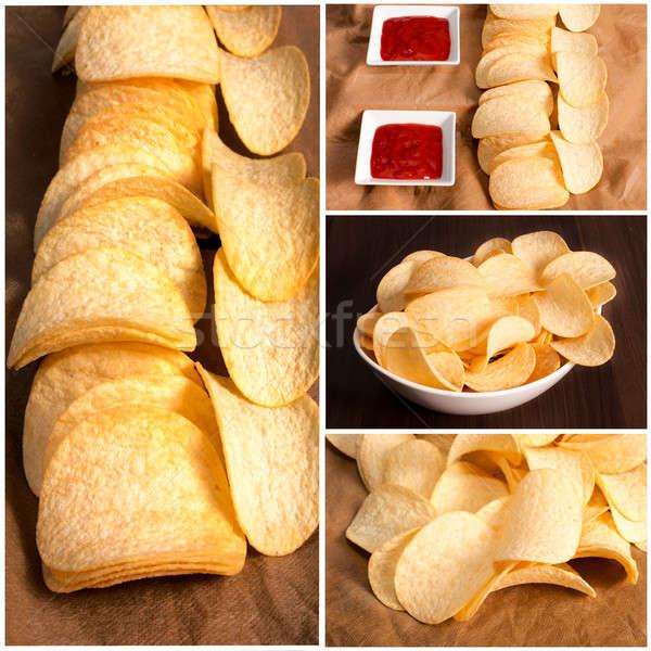 Chips vers eigengemaakt voedsel partij eten Stockfoto © badmanproduction