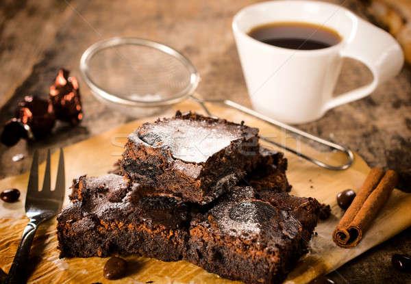 Kahve seçici odak Paskalya çikolata kek Stok fotoğraf © badmanproduction