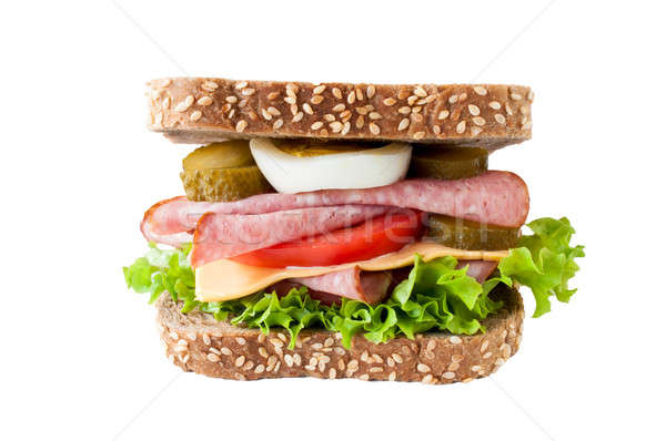 Sausage samdwich isolated Stock photo © badmanproduction