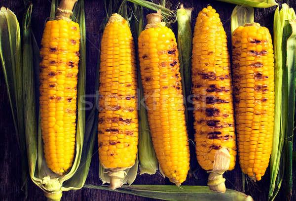 Kukorica grillezett fiatal fölött étel asztal Stock fotó © badmanproduction