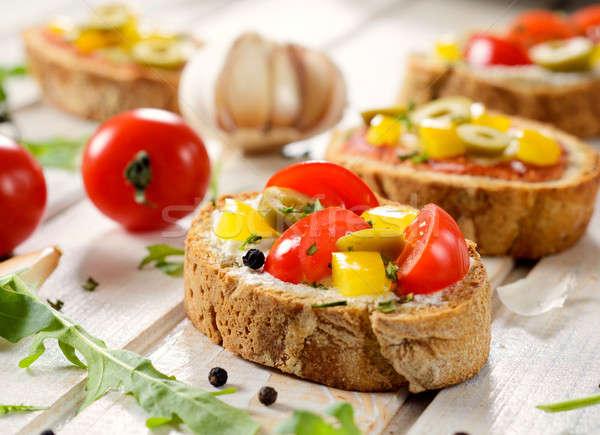 ミニ サンドイッチ 選択フォーカス フロント ベジタリアン 食品 ストックフォト © badmanproduction