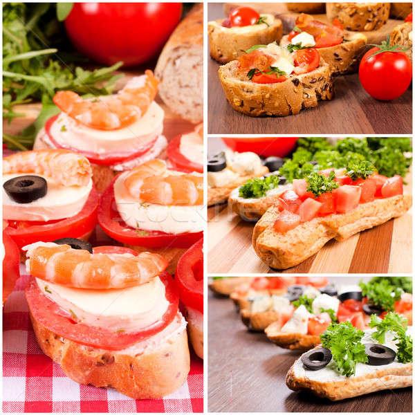 Bruschetta sandwich panini alimentare sfondo pane Foto d'archivio © badmanproduction