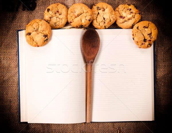 Foto d'archivio: Ricettario · cookies · fatto · in · casa · dolce · legno · sfondo