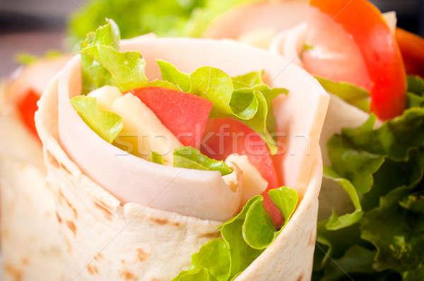 Tijd smakelijk tortilla Turkije vlees Stockfoto © badmanproduction
