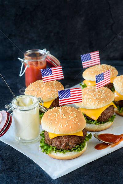 Mini sığır eti amerikan gıda uzay sandviç Stok fotoğraf © badmanproduction