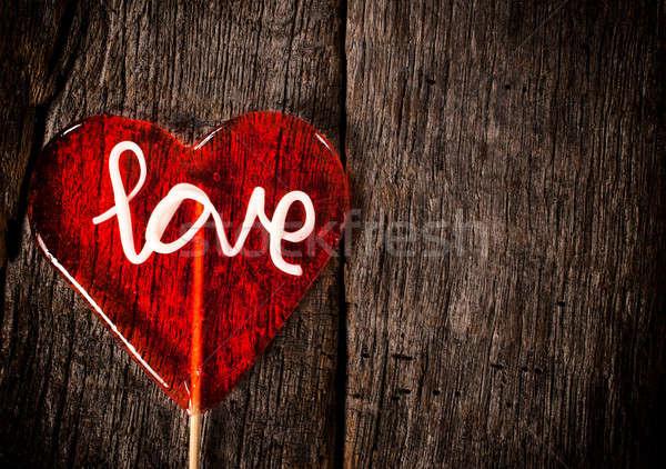 ストックフォト: 心臓の形態 · キャンディー · 開く · 木製 · 空白 · 中心
