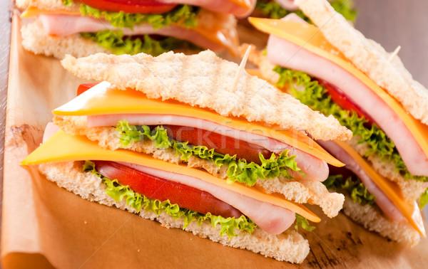 Szendvics szelektív fókusz elöl klub szendvics étel kenyér Stock fotó © badmanproduction