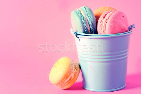 Macaroons in basket Stock photo © badmanproduction