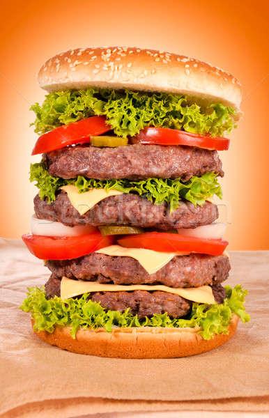 Сток-фото: огромный · гамбургер · фотографии · говядины · продовольствие · фото
