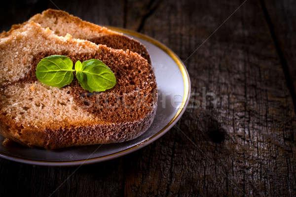 Slices of marble cake Stock photo © badmanproduction