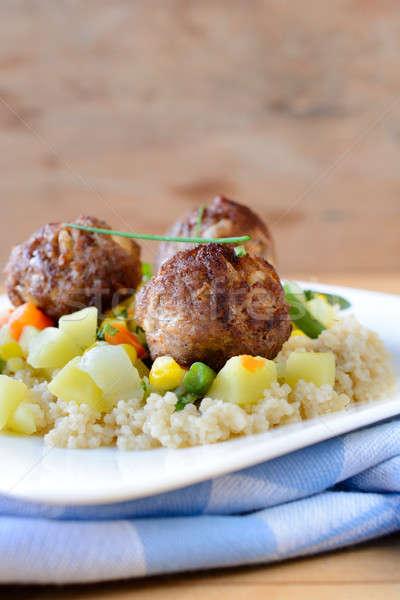 Foto stock: Carne · couscous · legumes · foco