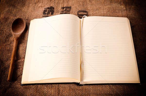 Boş yemek kitabı soyut kâğıt gıda ahşap Stok fotoğraf © badmanproduction