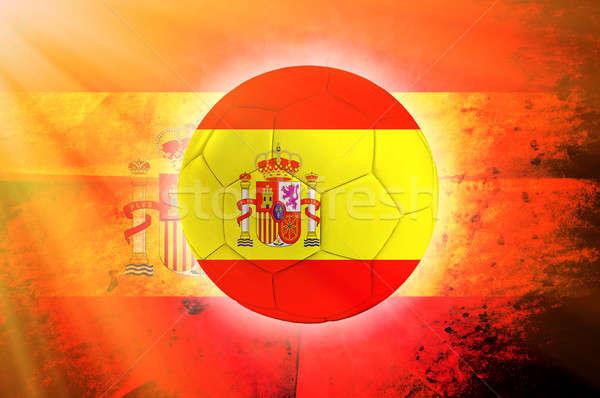 ストックフォト: スペイン · ボール · サッカーボール · フラグ · 抽象的な · 世界