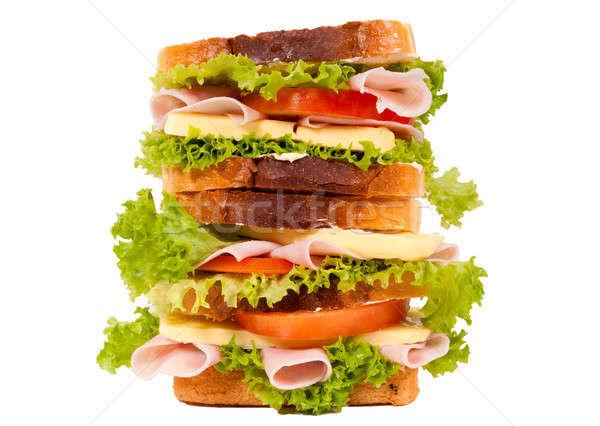 Nagy szendvics izolált fehér étterem kenyér Stock fotó © badmanproduction