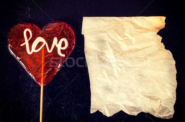 Szeretet ráncos papír szív alak cukorka fából készült Stock fotó © badmanproduction