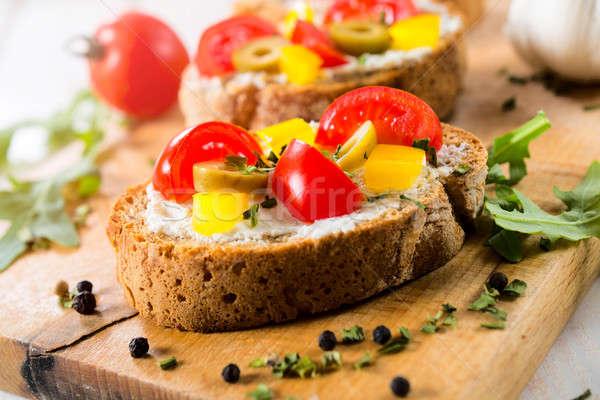 Tasty bruschetta on the table Stock photo © badmanproduction