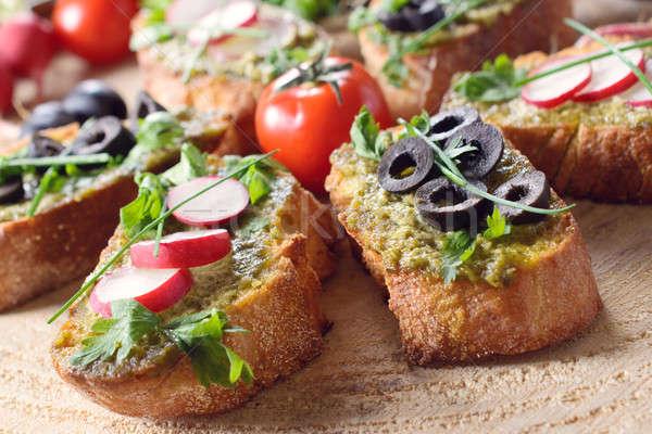Vegetarian Italian bruschettas Stock photo © badmanproduction