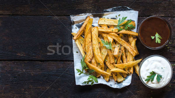 French fries and sauces Stock photo © badmanproduction