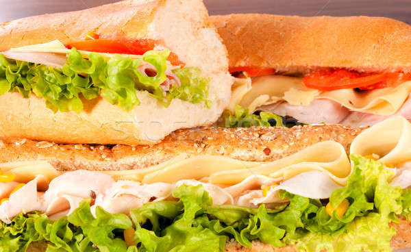 Sandwich pasto tre full frame home carne Foto d'archivio © badmanproduction
