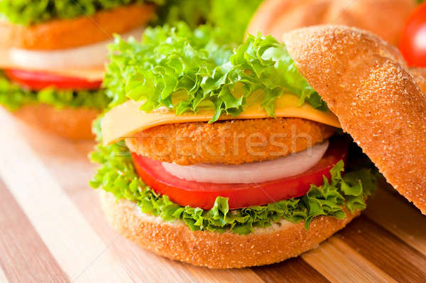 Fried fish burger  Stock photo © badmanproduction