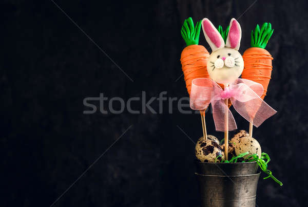 Carrots and bunny cake pops Stock photo © badmanproduction