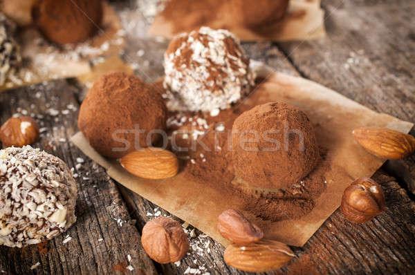 édes házi készítésű fókusz helyes egészség csokoládé Stock fotó © badmanproduction