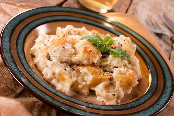 Italiaans plaat traditioneel achtergrond aardappel room Stockfoto © badmanproduction