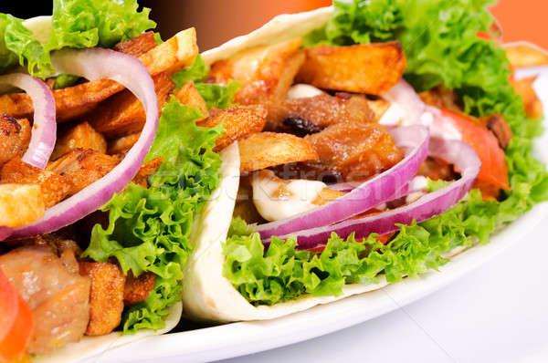 Pita tablicy smaczny restauracji chleba Zdjęcia stock © badmanproduction