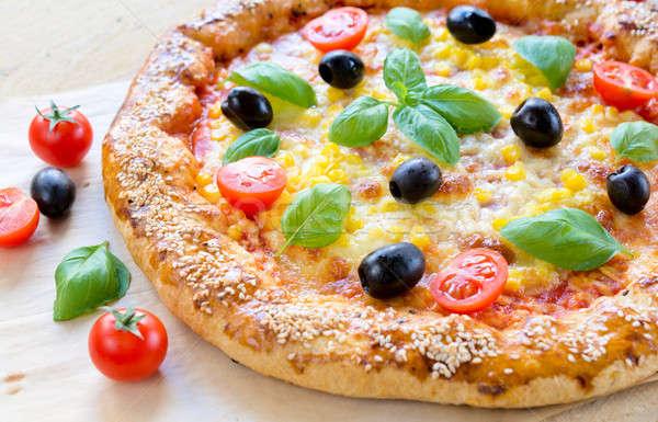 Vegetarian pizza Stock photo © badmanproduction