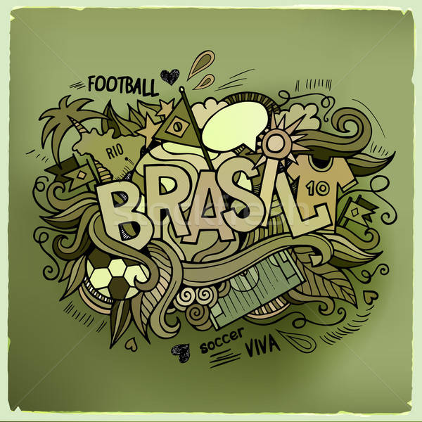 Brasil Summer Vector hand lettering and doodles elements Stock photo © balabolka