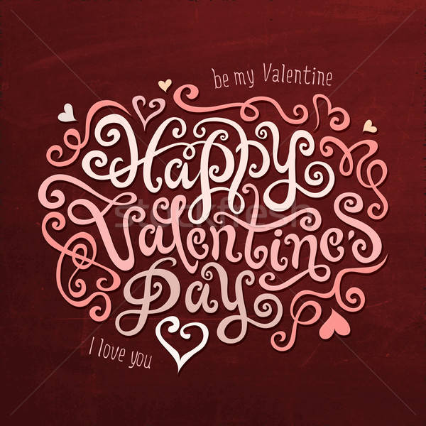 Heureux saint valentin main calligraphie vecteur Photo stock © balabolka